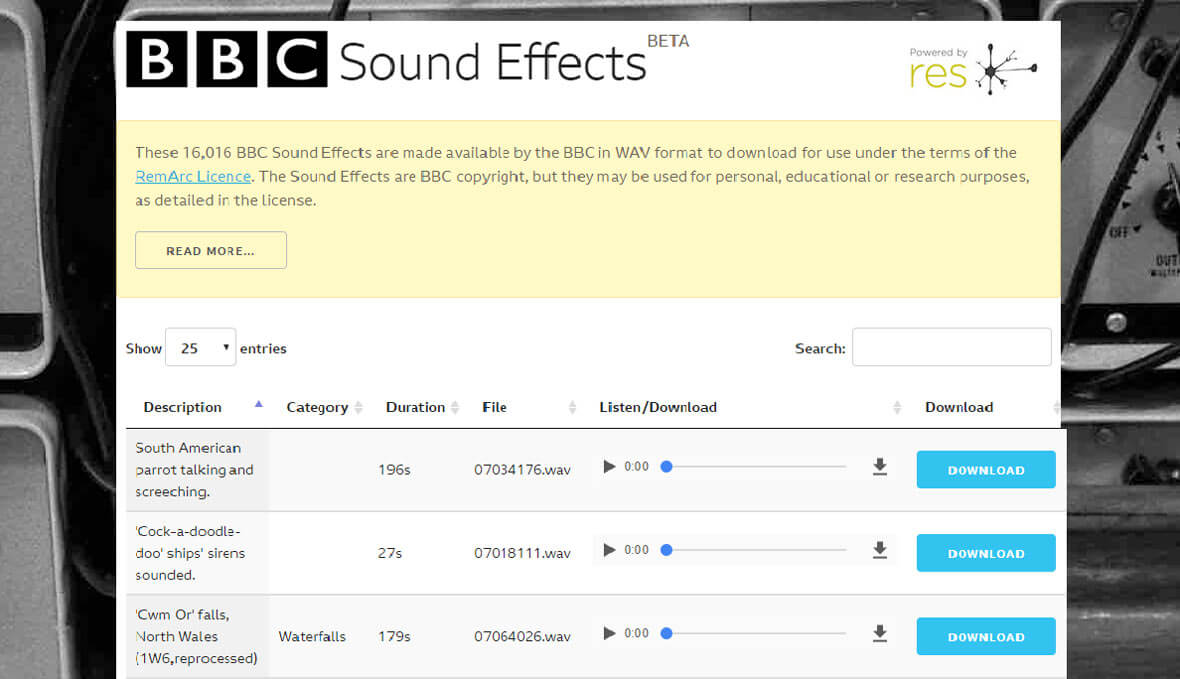Browse A List Of 16,000 Free Sound Effects From The BBC