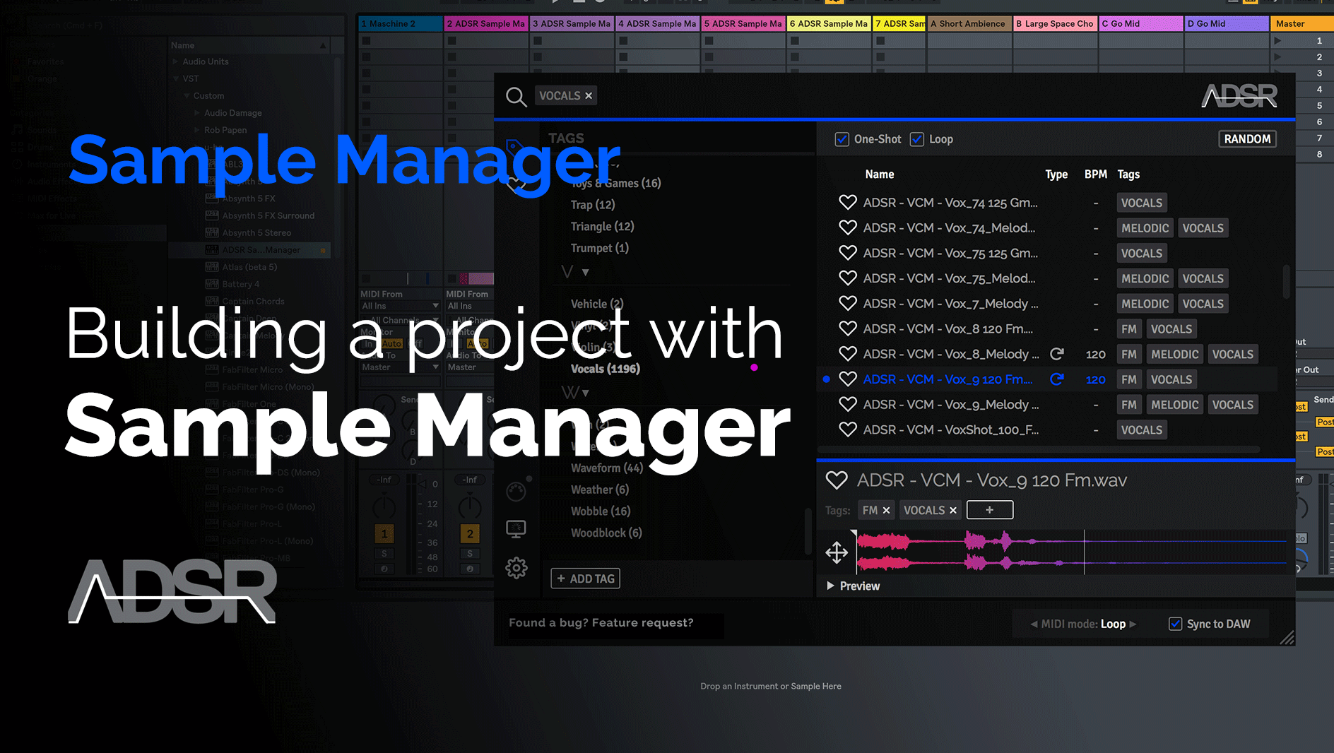 Using samples to build a project in ADSR Sample Manager