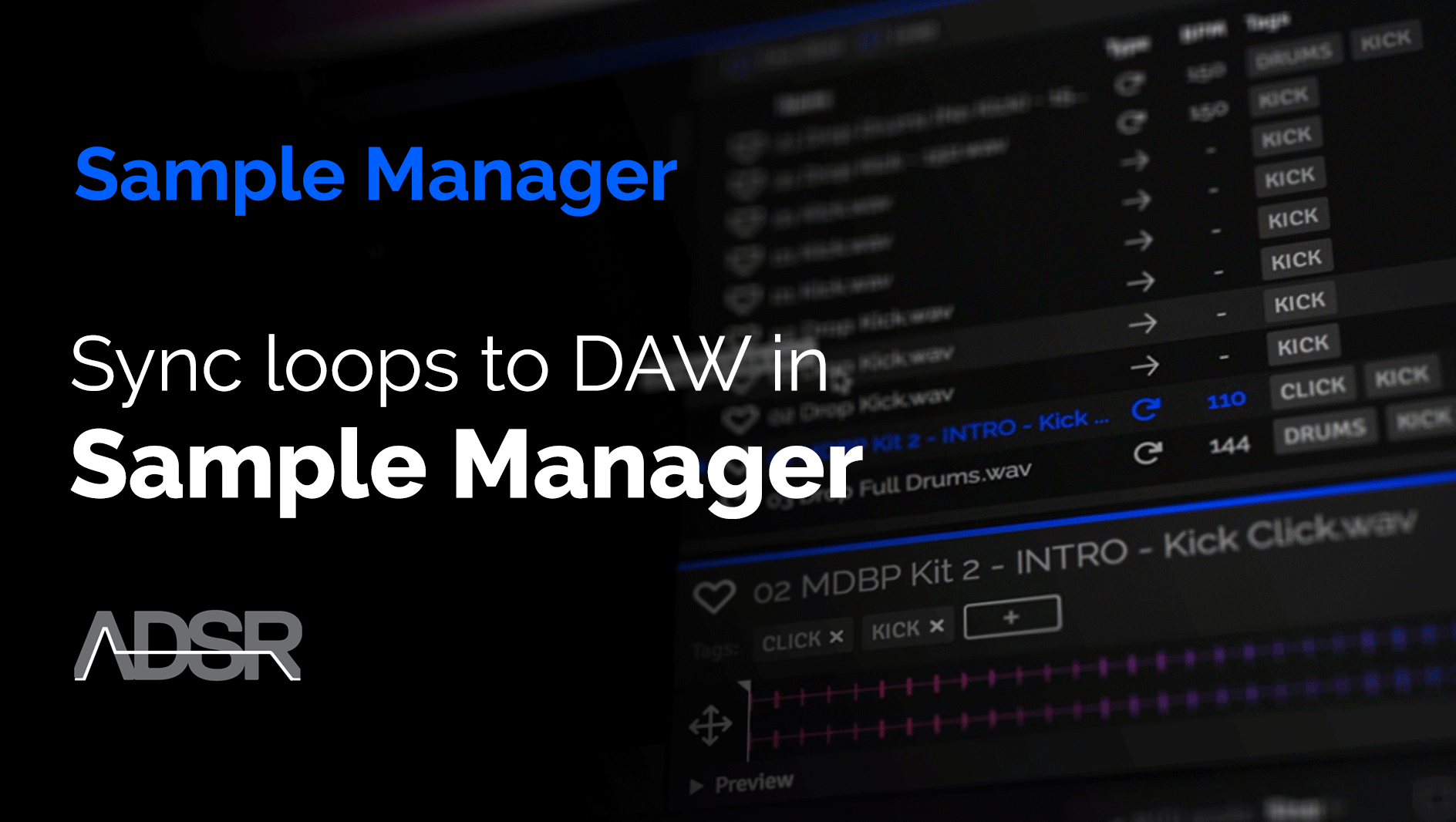 Sync loops to DAW tempo in ADSR Sample Manager