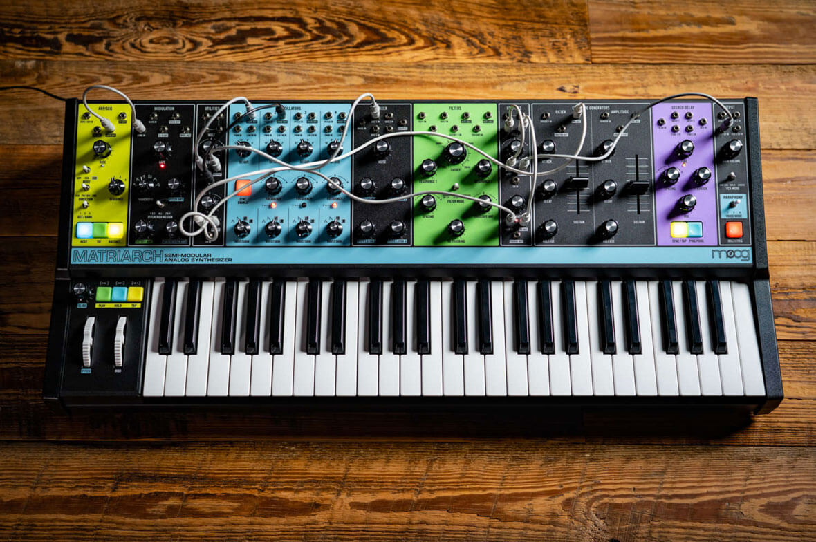 Moog Announces Matriach, A Semi-Modular, 4-Voice Paraphonic Synthesizer